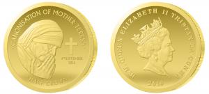 Skarbnica Narodowa najmniejsza złota moneta z Matką Teresą